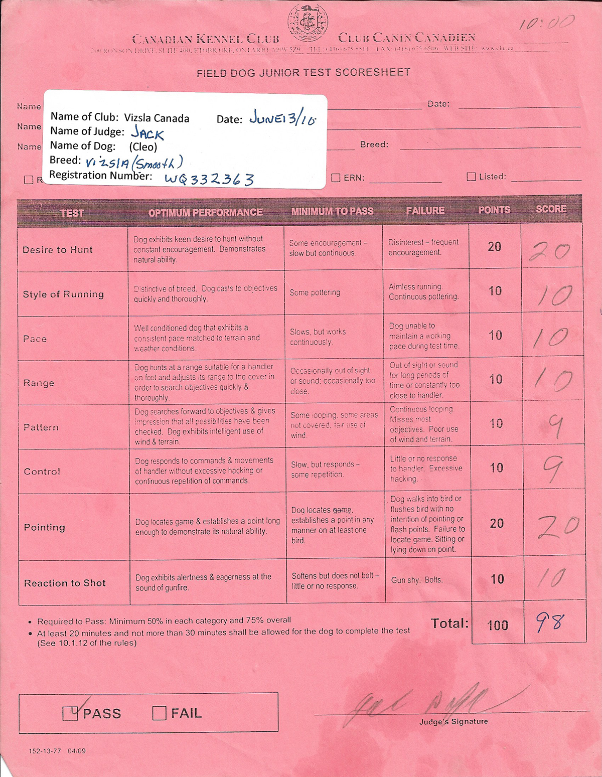 Canadian Kennel Club Field Dog Junior Test Scoresheet